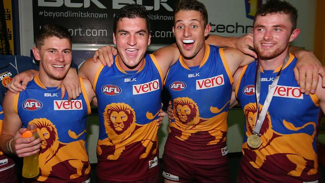 Brisbane star Tom Rockliff, second from left, enjoying a career year. Picture: Getty