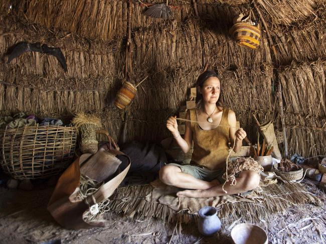 Claire Dunn, in a shelter. Picture: Australian Geographic