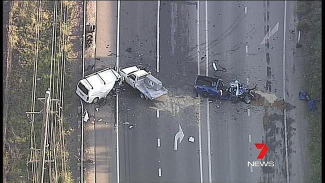 The road is still closed in both directions. Picture: Seven News