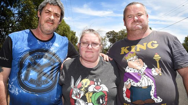 Ronald Lyons, Christine Lyons and Peter Arthur were charged in relation to the death of Samantha Kelly. Before their arrest, they posed for pictures and expressed concern over Ms Kelly's disappearance. Picture: Nicole Garmston