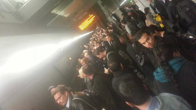 Perth commuter Ian Davies snapped this shot of commuters stranded at Perth underground station after trains were cancelled between Leederville and Perth. Picture: Ian Davies, Twitter