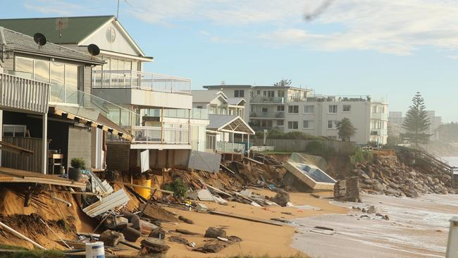 The properties on Pittwater rd north of Ramsay st Collaroy have suffered more erosion overnight. Picture: John Grainger