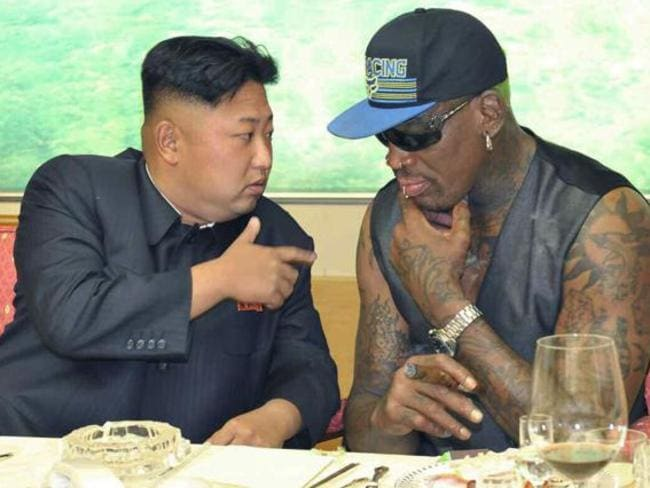 North Korean leader Kim Jong-un (L) meets with former NBA star Dennis Rodman in Pyongyang. Picture: AAP