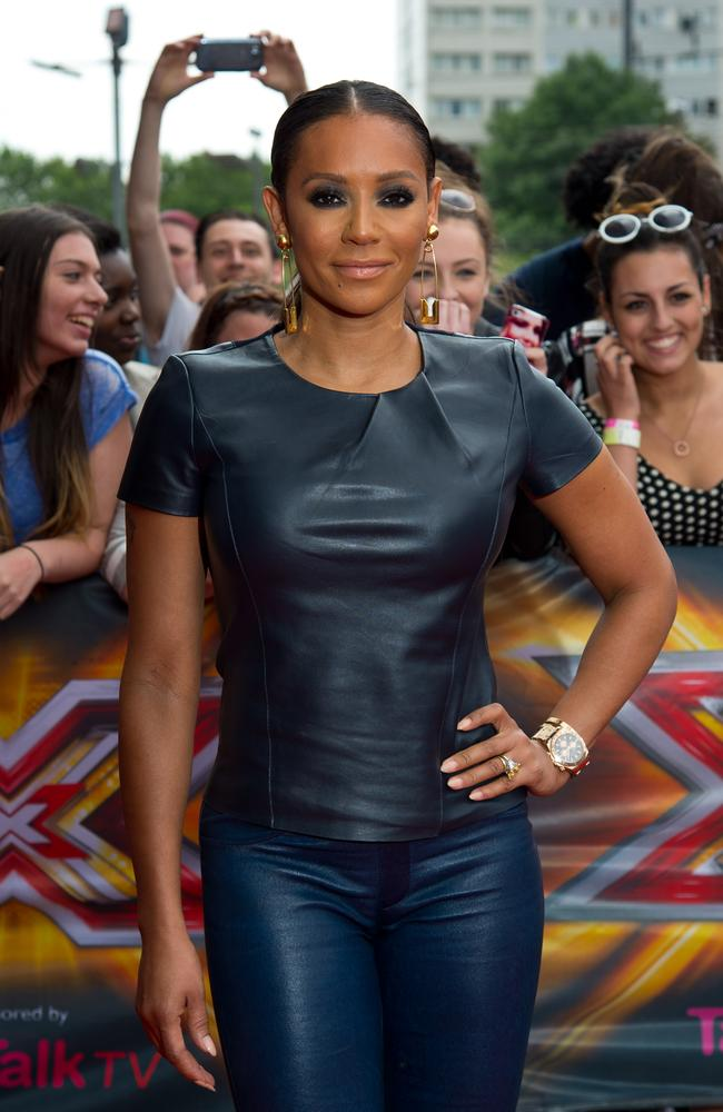 Great Kisser ... Mel B arrives for the London Auditions of  <i>X Factor</i> at Emirates Stadium on June 24, 2014 in London. Picture: Getty