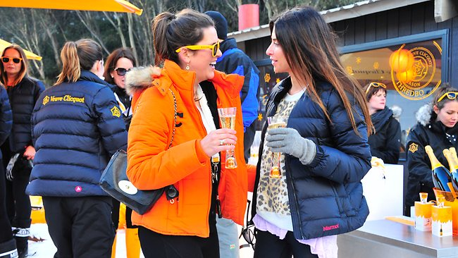 Charlotte Holmes a Court and Jodhi Meares at last year's Clicquot In The Snow event at Thredbo in NSW. Picture: Supplied