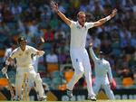 Stuart Broad of England appeals unsucessfully for the wicket of David Warner.