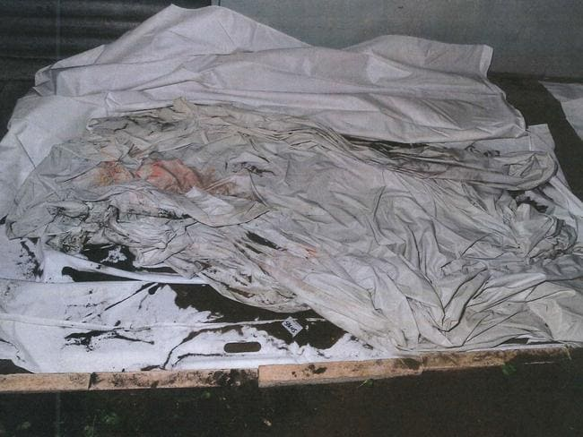White sheet in which Lilley and Lenon wrapped the body. Picture: WA Police.
