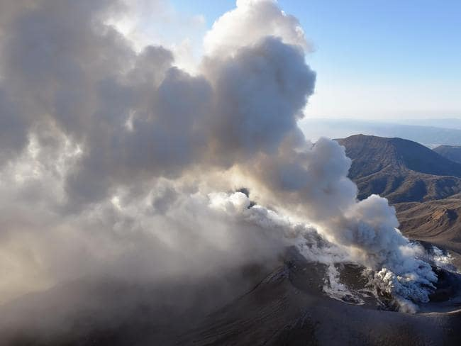 The volcano has erupted violently several times on Tuesday, shooting up ash and smoke up to 2300 metres. Picture: AP