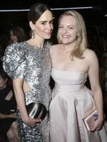 Sarah Paulson and Elisabeth Moss pose in the audience at the 69th Primetime Emmy Awards on Sunday, Sept. 17, 2017, at the Microsoft Theater in Los Angeles. Picture: AP
