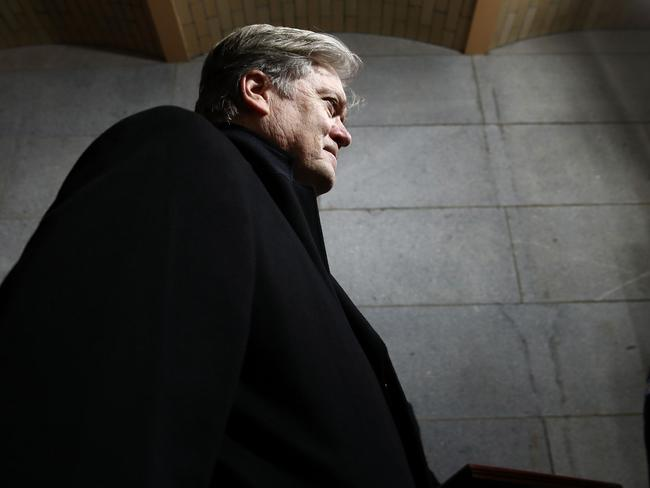 Senior Counselor to the President Steve Bannon arriving before the presidential inauguration on the West Front of the US Capitol in Washington, DC. Doubts now surround his future in the White House. Picture: AFP