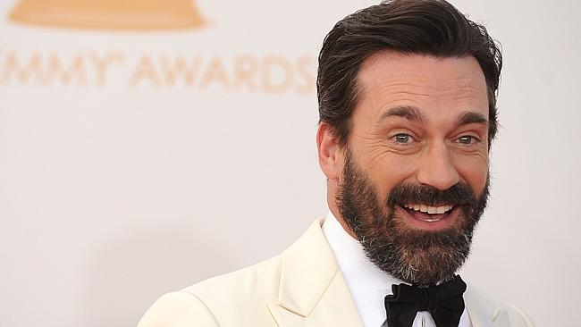 Jon Hamm arrives shows off his beard earlier in the night. Photo: AFP/Robyn Beck