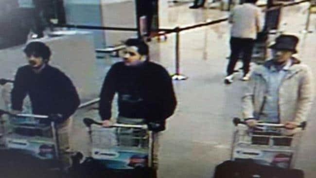 The three men suspected of taking part in the attacks at Belgium's Zaventem Airport.