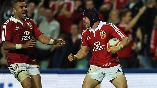 Leigh Halfpenny celebrates a try for the British and Irish Lions.