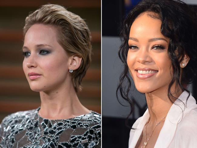 Targets ... Oscar-winner Jennifer Lawrence and pop star Rihanna had their private images stolen in the attack. Picture: AFP