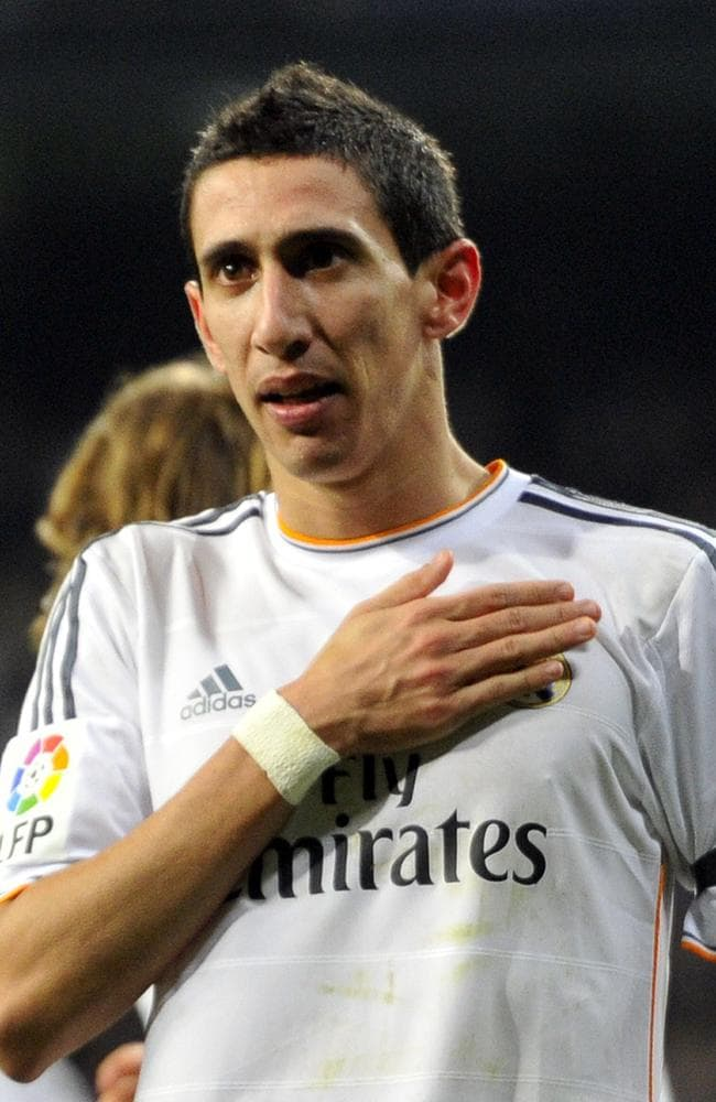 Angel di Maria celebrates after scoring a goal during the Spanish Copa del Rey.