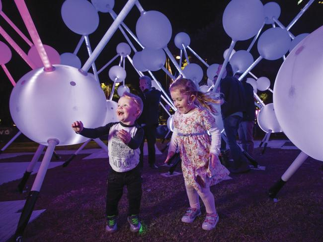 Children can engage and interact with many of the installations, controlling colour, sound and light. Picture: Vivid Sydney