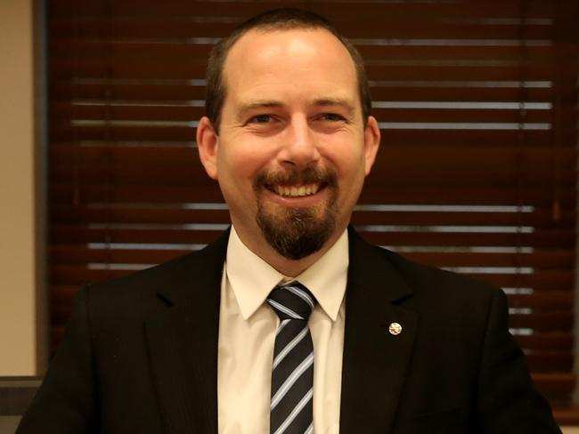 Australian Motoring Enthusiast Party Senator Ricky Muir in his office at Parliament House in Canberra.