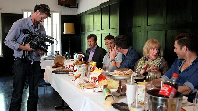 Herald Sun videographer Craig catches the comedians in a relaxed moment behind the scenes of their shoot at The Melbourne Supper Club.