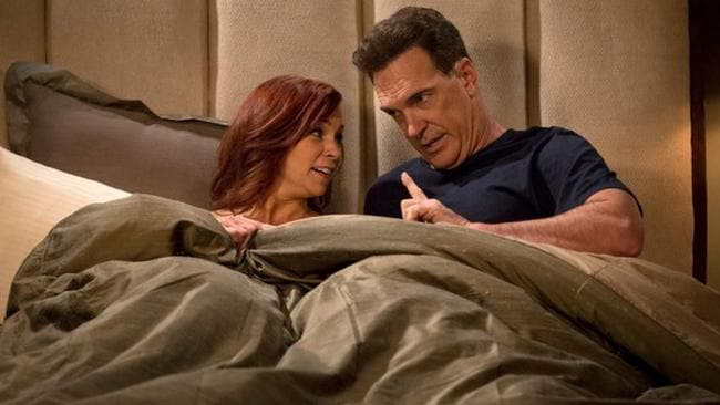 Patrick Warburton in bed with Carrie Preston on Crowded. Picture: NBC