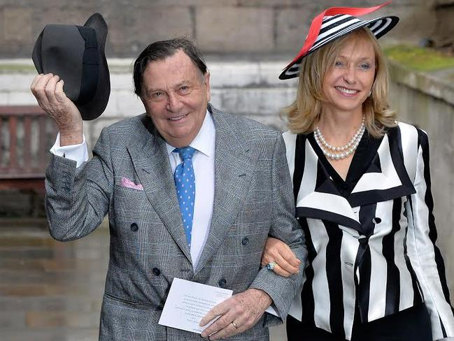 Barry Humphries with his wife Lizzie Spender at the wedding in London. Picture: David Dyson
