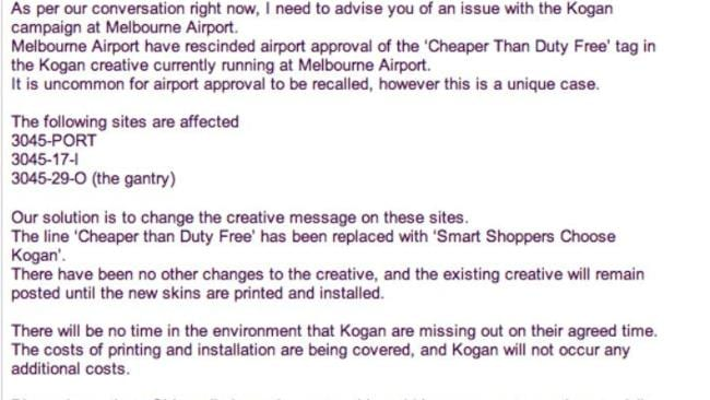 The email advising Kogan their advertising would be changed.