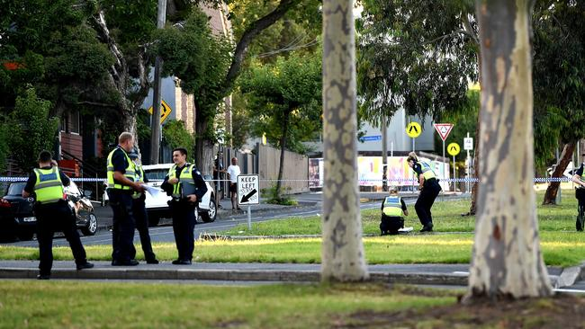 Police investigate fatal stabbing near Courtney street and Blackwood street North Melbourne. Picture: Nicole Garmston