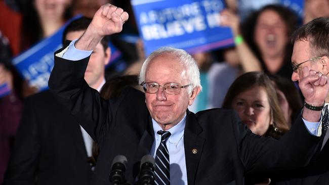 Democratic presidential candidate Bernie Sanders celebrates victory during a primary night rally in New Hampshire. Picture: AFP/Jewel Samad