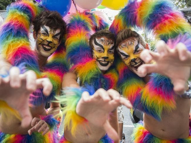 Choose words — and actions — that celebrate, rather than discriminate. Party-goers at the 36th Sydney Mardi Gras.