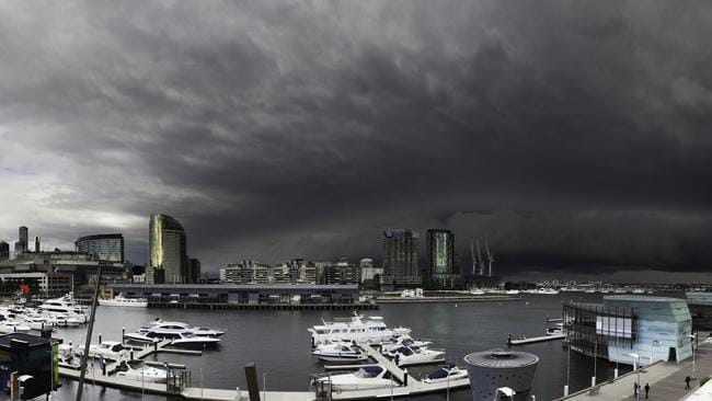 Storm chaser Hannah took this from her balcony in Docklands just as the cold front hit Melbourne this afternoon. Picture credit: Hannah Weddell