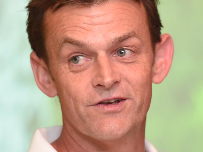 Adam Gilchrist speaks to the media during an Ashes media event at the Gabba in Brisbane, Wednesday, October 18, 2017. (AAP Image/Albert Perez) NO ARCHIVING