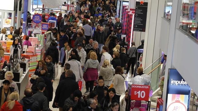 Macy's department store in New York packed with people on Black Friday last year. Picture: AFP