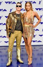 Jeremy Scott and Jasmine Sanders attend the 2017 MTV Video Music Awards at The Forum on August 27, 2017 in Inglewood, California. Picture: Getty