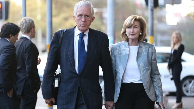 Alexander and Jane Dawson, the parents of Lindt Cafe siege victim Katrina Dawson, walk arm in arm as they arrive to the Lindt Cafe siege inquest findings in Sydney, Wednesday, May 24, 2017. Picture: AAP /David Moir.