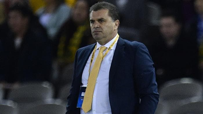 Coach of the Socceroos Ange Postecoglou is seen during the 2018 FIFA World Cup Qualifier game between Australia and Japan at Etihad Stadium in Melbourne, Tuesday, Oct. 11, 2016. (AAP Image/Julian Smith) NO ARCHIVING, EDITORIAL USE ONLY