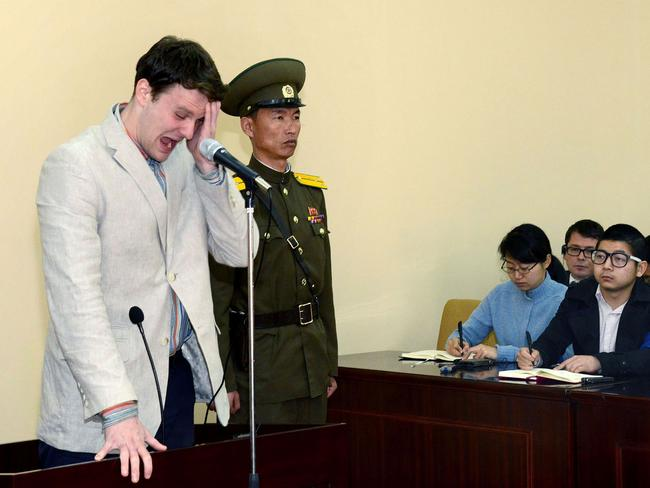 US student Otto Frederick Warmbier pictured at his trial. Picture: AFP/KCNA/KNS