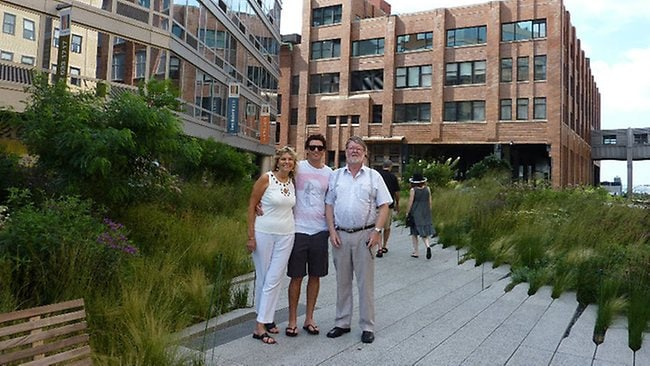 Trent Martin, 33, Sydney financial analyst facing insider trading charges in New York. Martin is pictured with relatives at the High Line Park, New York. Pictures: MySpace/Facebook