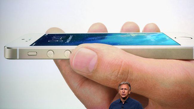 Apple Senior Vice President of Worldwide Marketing at Phil Schiller speaks about the new iPhone 5S during an Apple product announcement at the Apple campus on September 10, 2013 in Cupertino, California. Picture: AFP