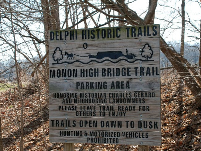 The old railway bridge is part of a historic trail network near Delphi, Indiana where the two young girls lived.