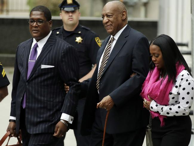 Bill Cosby (centre) with arrives for his sexual assault trial with Keshia Knight Pulliam (right). Picture: AP Photo/Matt Slocum