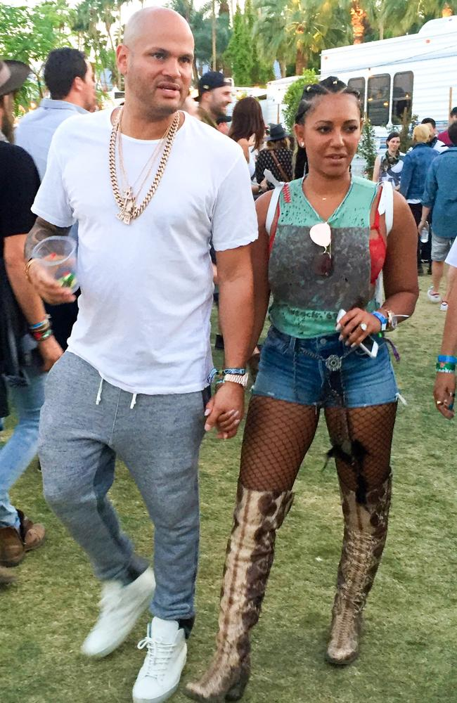 Trying a bit too hard? Mel B and Stephen Belafonte at Coachella 2016. Picture: BackGrid
