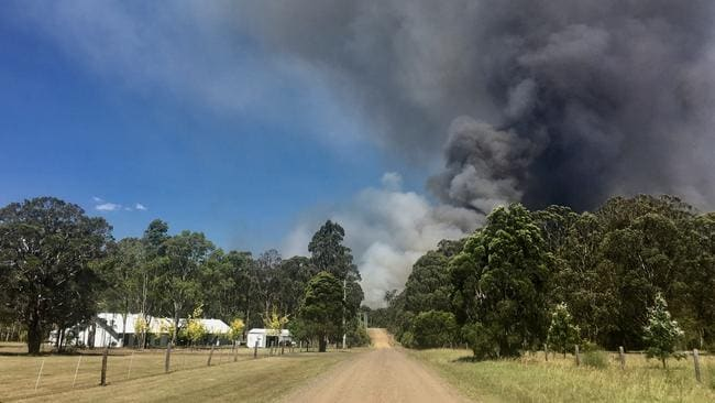 Fires burning off Lovedale Rd, Lovedale, in the NSW Hunter Valley. Picture: Peter Lorimer