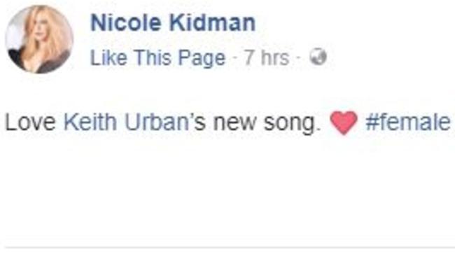 Nicole Kidman's response to the song. Picture: Nicole Kidman/Facebook