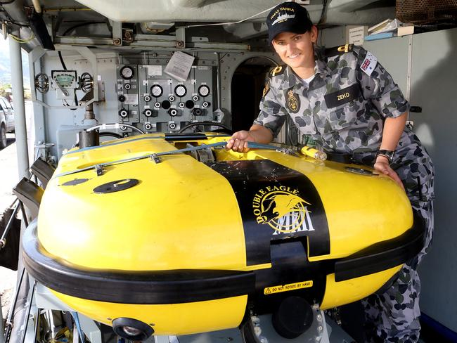 Scanned 5sq km ... Sub Lieutenant Ivanka Zeko with a Mine Disposal Vehicle on board HMAS Yarra in Rabaul Harbour, Papua New Guinea. Picture: Calum Robertson