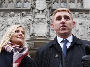 Jon Platt, who was fined for taking his daughtet out of school on the Isle of Wight, with his wife Sally outside the Supreme Court.