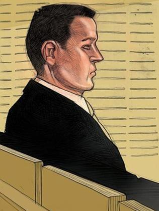 A courtroom sketch of Gerard Baden-Clay.