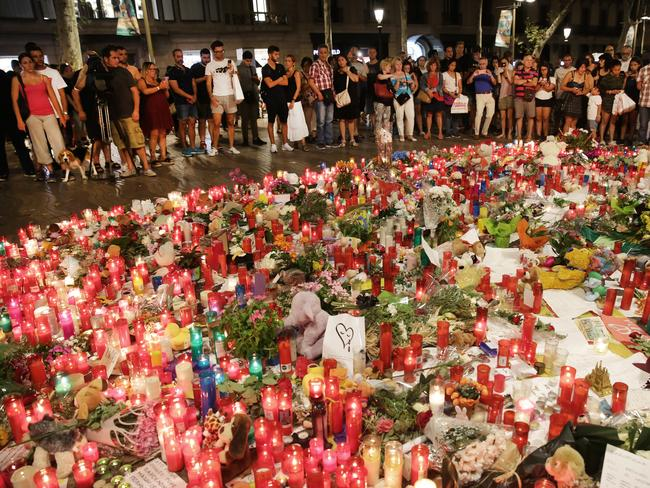 A memorial for the victims of the Barcelona tragedy. Picture: Ella Pellegrini
