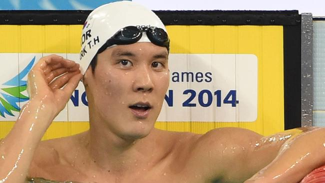 Sun Yang's real arch rival is South Korea's Park Taeh-wan (above) and in Saturday's 1500m final it will be 'King of the World' v 'Top Gun' in the pool. Picture: AFP/Philippe Lopez