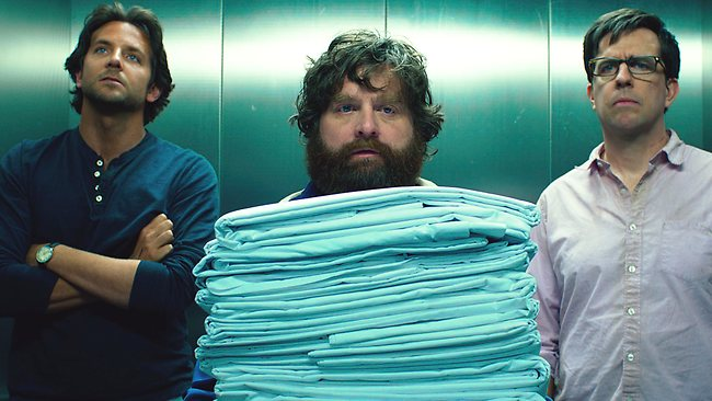 Zach Galifianakis (centre) with The Hangover III co-stars Bradley Cooper and Ed Helms. Galifianakis invited a special guest to the film's premiere in Las Vegas on the weekend.