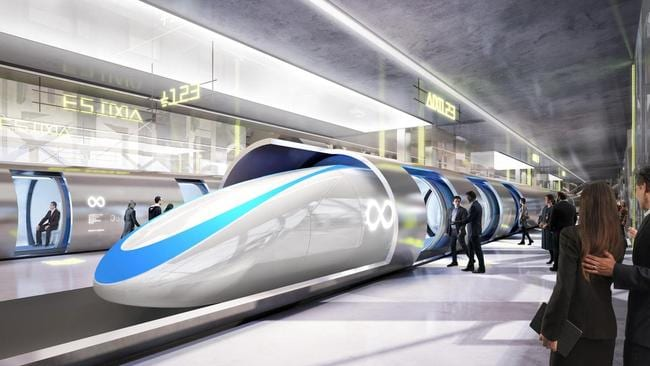 Artist's impressions of the planned Hyperloop transit system
