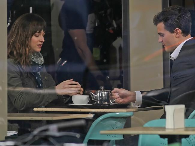 No froth seen in trailer ... Jamie Dornan and Dakota Johnson in filming for Fifty Shades of Grey.